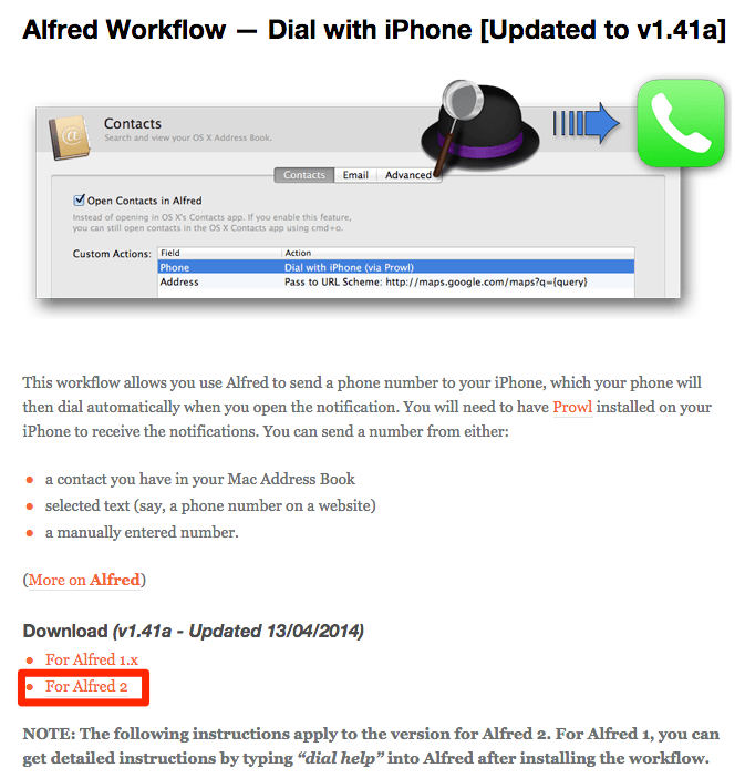 Alfred Workflow - Dial with iPhone -